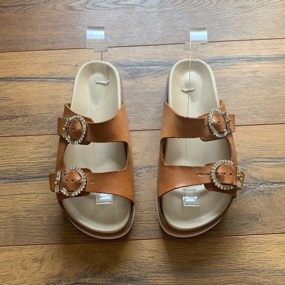 Zara Basic | Faux Leather Chunky Platform Jeweled Sandal 37